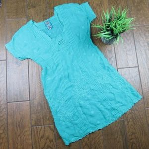 Johnny Was Dress Embroidered Blue Small NWOT